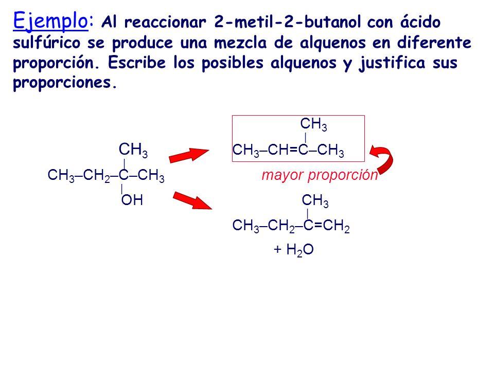 Ejemplo: Al reaccionar 2-metil-2-butanol con ácido sulfúrico se produce una mezcla de alquenos en diferente proporción. Escribe los posibles alquenos