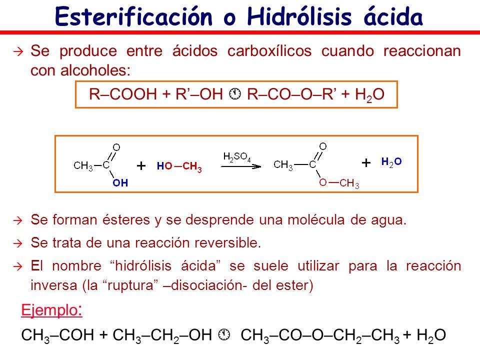 Esterificación o Hidrólisis ácida Se produce entre ácidos carboxílicos cuando reaccionan con alcoholes: R–COOH + R–OH R–CO–O–R + H 2 O Se forman éster