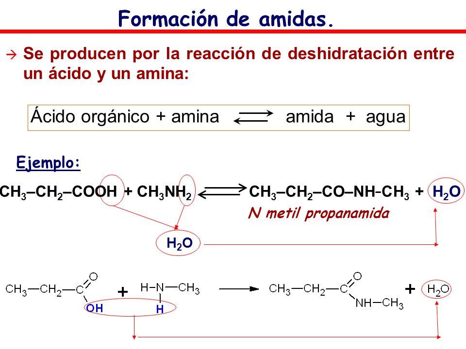Formación de amidas. Se producen por la reacción de deshidratación entre un ácido y un amina: Ácido orgánico + amina amida + agua CH 3 –CH 2 –COOH + C