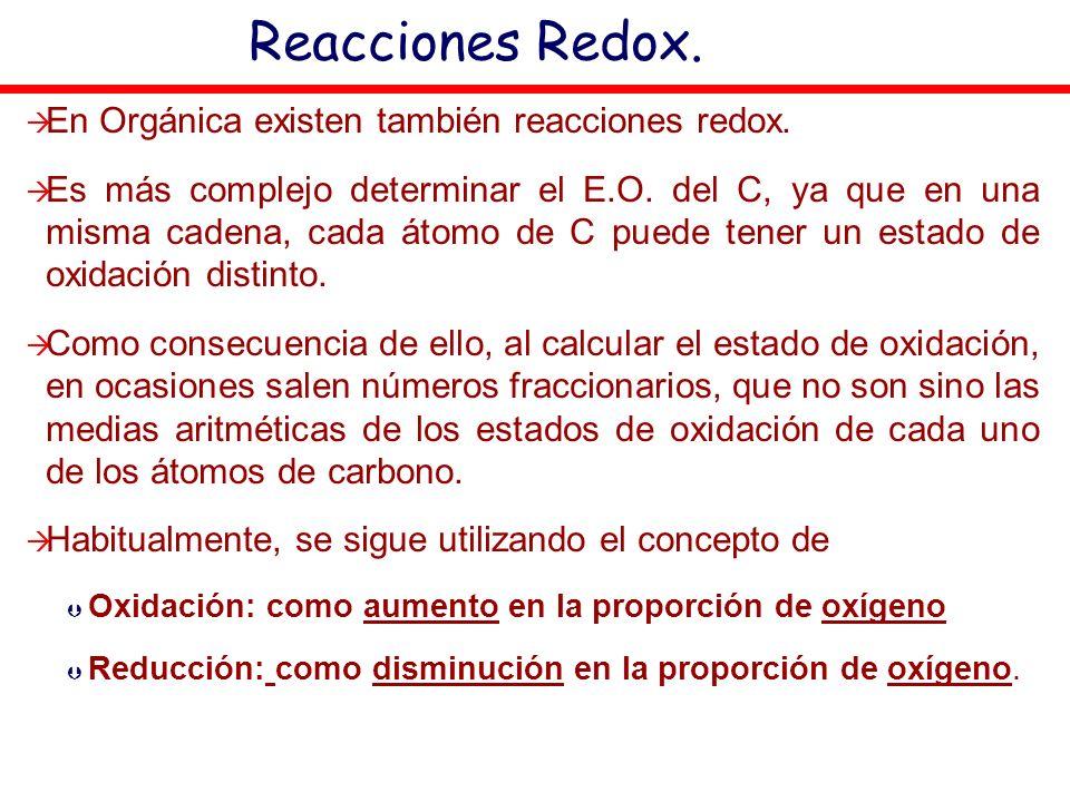 Reacciones Redox. En Orgánica existen también reacciones redox. Es más complejo determinar el E.O. del C, ya que en una misma cadena, cada átomo de C