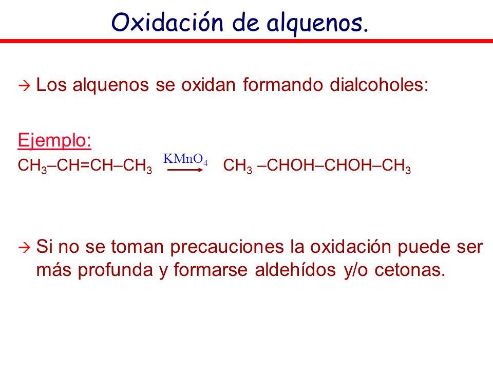Oxidación de alquenos. Los alquenos se oxidan formando dialcoholes: Ejemplo: CH 3 –CH=CH–CH 3 CH 3 –CHOH–CHOH–CH 3 Si no se toman precauciones la oxid