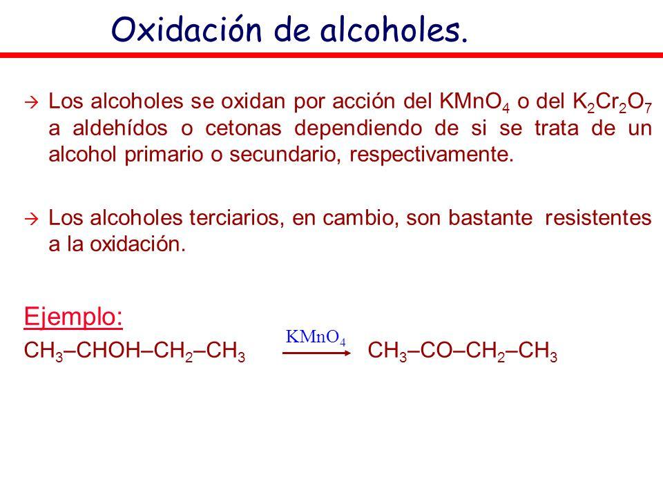 Oxidación de alcoholes. Los alcoholes se oxidan por acción del KMnO 4 o del K 2 Cr 2 O 7 a aldehídos o cetonas dependiendo de si se trata de un alcoho