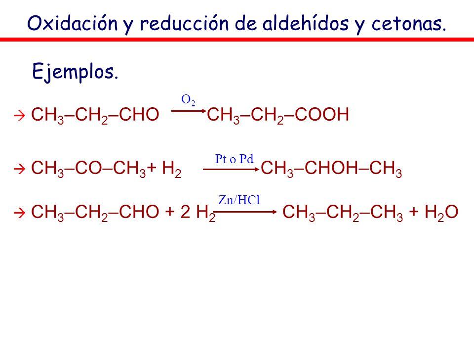 Oxidación y reducción de aldehídos y cetonas. CH 3 –CH 2 –CHO CH 3 –CH 2 –COOH CH 3 –CO–CH 3 + H 2 CH 3 –CHOH–CH 3 CH 3 –CH 2 –CHO + 2 H 2 CH 3 –CH 2