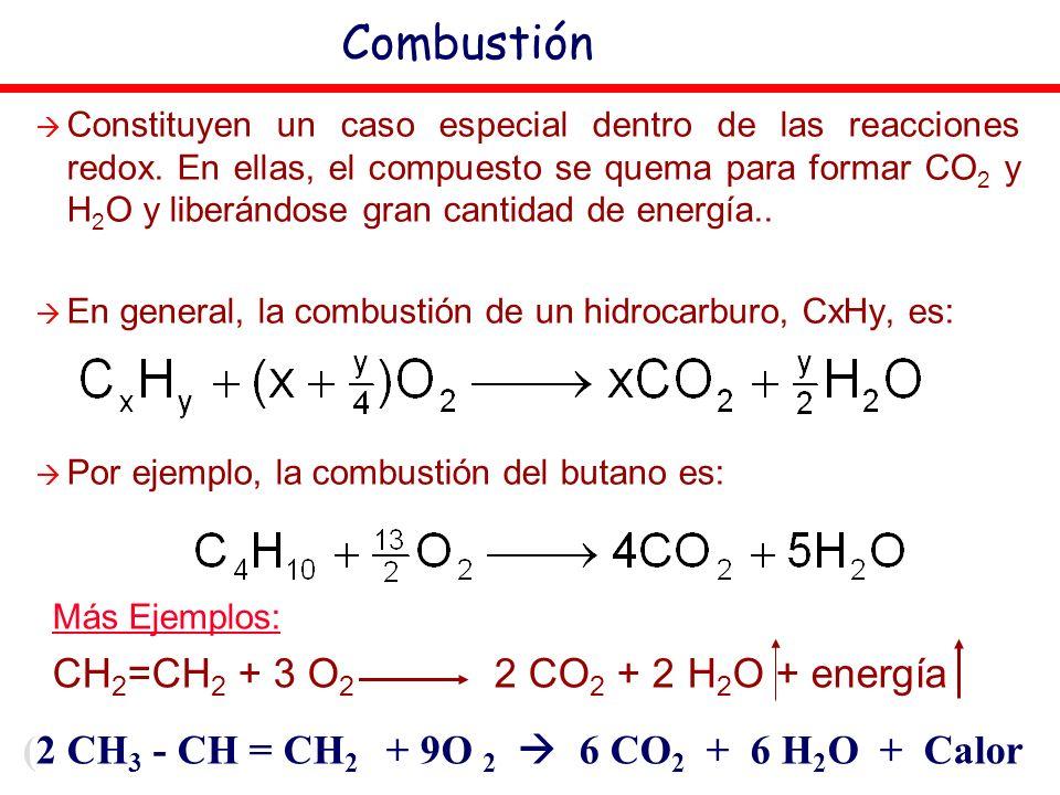 (2 CH 3 - CH = CH 2 + 9O 2 6 CO 2 + 6 H 2 O + Calor Combustión Constituyen un caso especial dentro de las reacciones redox. En ellas, el compuesto se