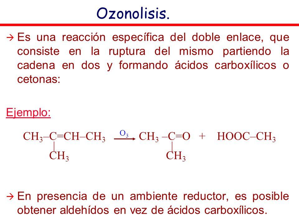 Es una reacción específica del doble enlace, que consiste en la ruptura del mismo partiendo la cadena en dos y formando ácidos carboxílicos o cetonas: