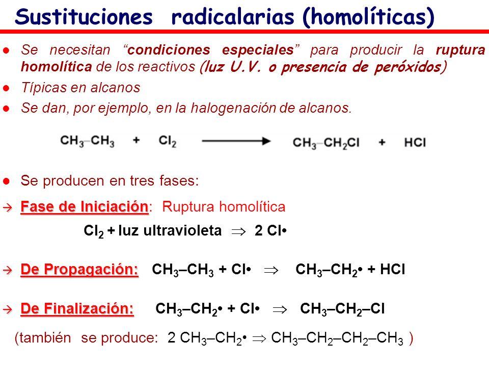 Sustituciones radicalarias (homolíticas) Se necesitan condiciones especiales para producir la ruptura homolítica de los reactivos (luz U.V. o presenci
