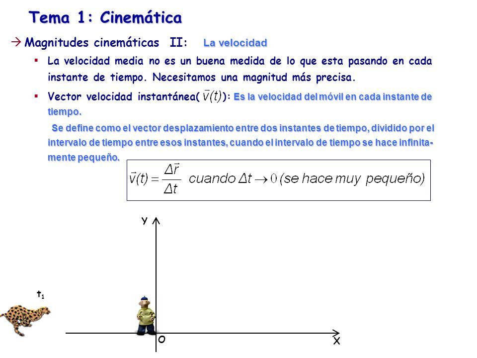 Tema 1: Cinemática La velocidad Magnitudes cinemáticas II: La velocidad La velocidad media no es un buena medida de lo que esta pasando en cada instan