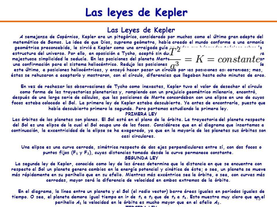 13 Las leyes de Kepler Las Leyes de Kepler A semejanza de Copérnico, Kepler era un pitagórico, considerado por muchos como el último gran adepto del m