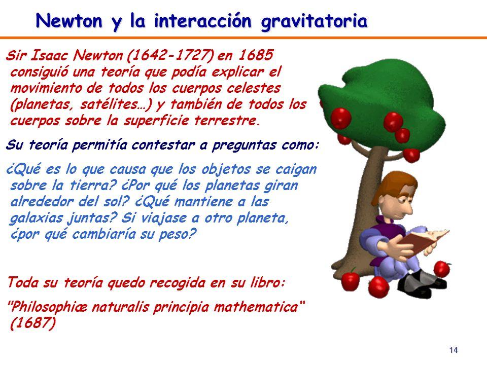 14 Newton y la interacción gravitatoria Sir Isaac Newton (1642-1727) en 1685 consiguió una teoría que podía explicar el movimiento de todos los cuerpo