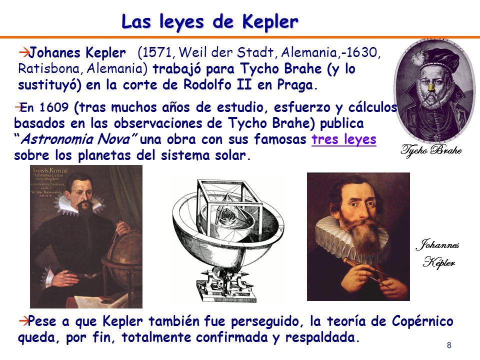8 Las leyes de Kepler Johanes Kepler (1571, Weil der Stadt, Alemania,-1630, Ratisbona, Alemania) trabajó para Tycho Brahe (y lo sustituyó) en la corte
