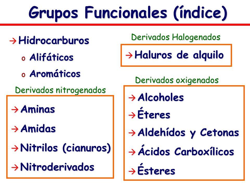 Grupos Funcionales (índice) Hidrocarburos Hidrocarburos o Alifáticos o Aromáticos Aminas Aminas Amidas Amidas Nitrilos (cianuros) Nitrilos (cianuros)