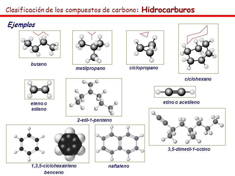 butano metilpropano ciclopropano ciclohexano eteno o etileno etino o acetileno 1,3,5-ciclohexatrieno benceno naftaleno 2-etil-1-penteno 3,5-dimetil-1-