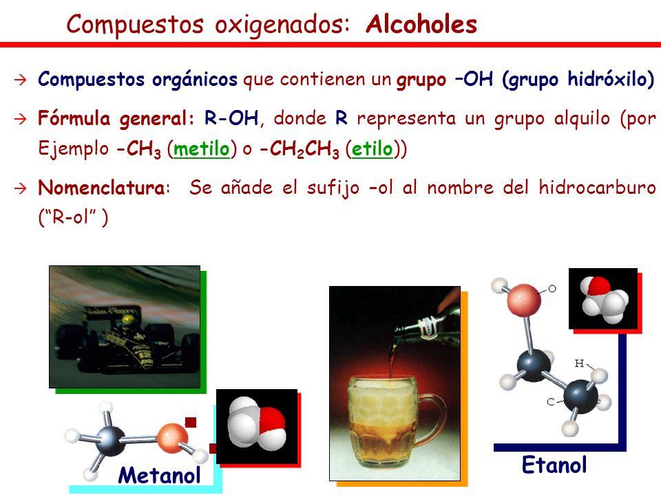 Compuestos oxigenados: Alcoholes Compuestos orgánicos que contienen un grupo –OH (grupo hidróxilo) Fórmula general: R-OH, donde R representa un grupo