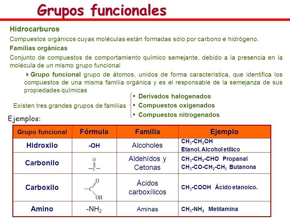 Grupos funcionales Hidrocarburos Compuestos orgánicos cuyas moléculas están formadas sólo por carbono e hidrógeno. Familias orgánicas Conjunto de comp