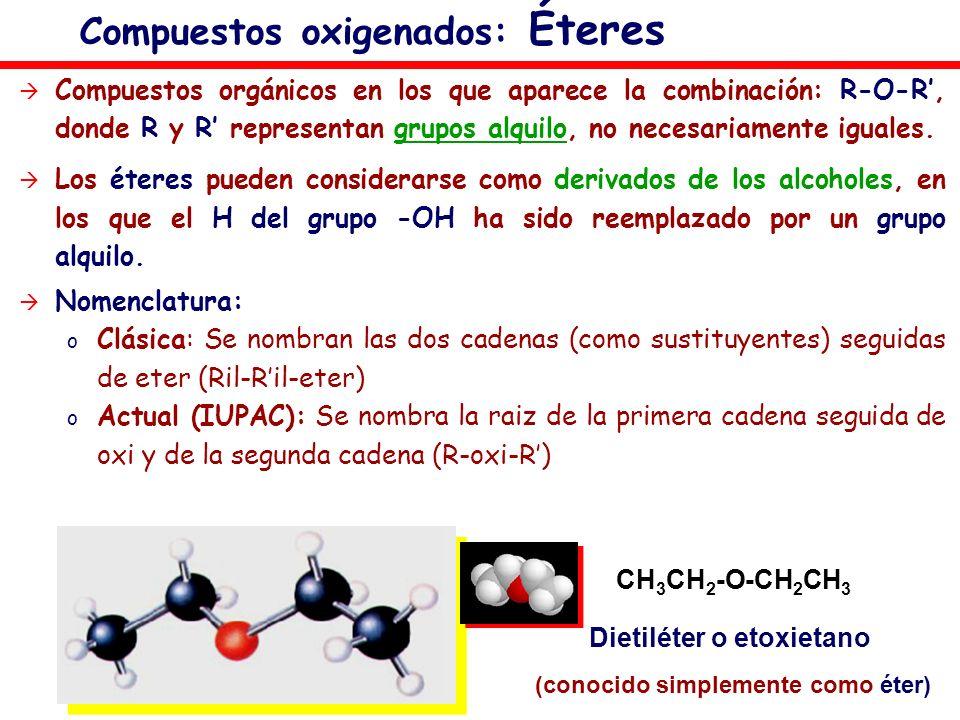 Compuestos oxigenados: Éteres Compuestos orgánicos en los que aparece la combinación: R-O-R, donde R y R representan grupos alquilo, no necesariamente