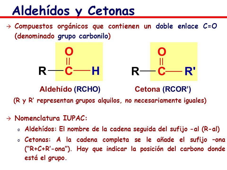 Aldehídos y Cetonas Compuestos orgánicos que contienen un doble enlace C=O (denominado grupo carbonilo) Aldehído (RCHO)Cetona (RCOR) (R y R representa