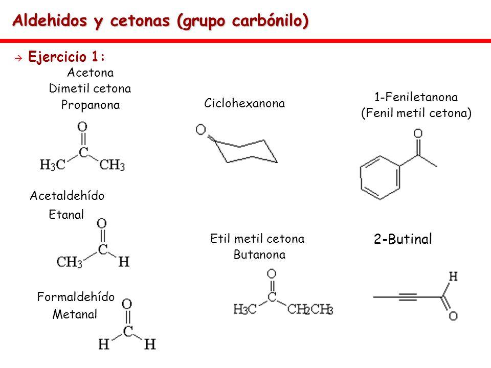 Aldehidos y cetonas (grupo carbónilo) Ejercicio 1: Acetona Dimetil cetona Propanona Acetaldehído Etanal Formaldehído Metanal Ciclohexanona 1-Feniletan