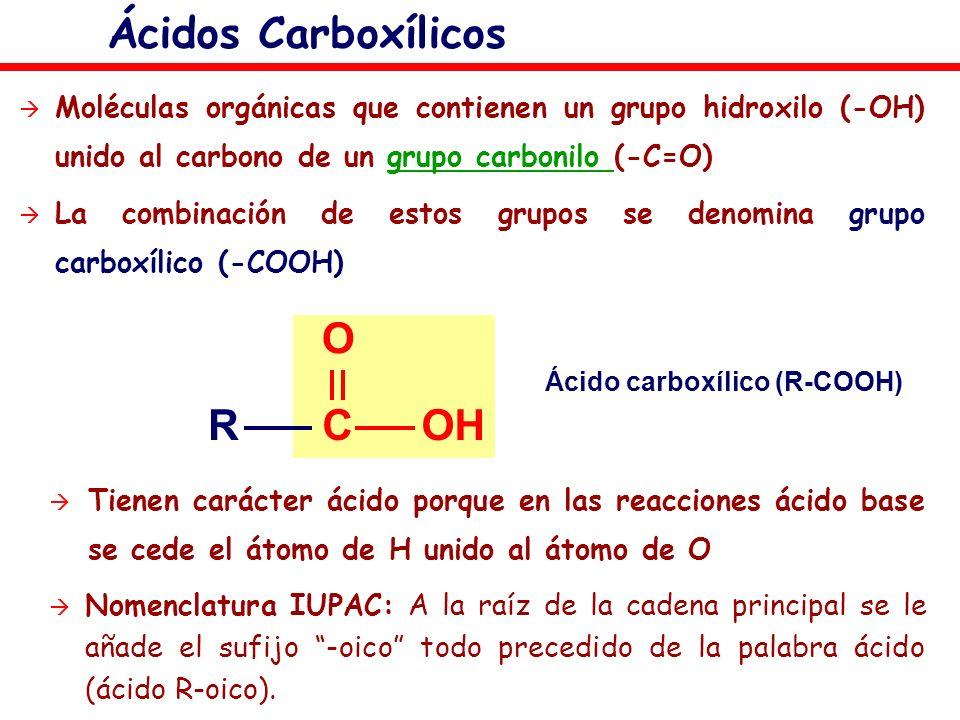 Moléculas orgánicas que contienen un grupo hidroxilo (-OH) unido al carbono de un grupo carbonilo (-C=O)grupo carbonilo La combinación de estos grupos