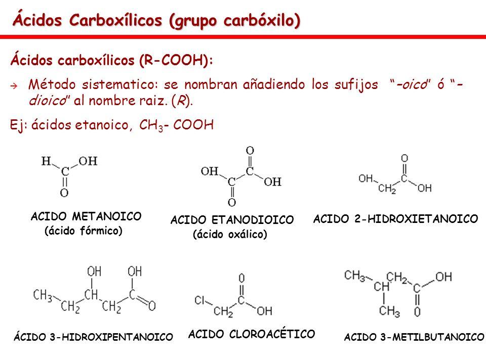 Ácidos Carboxílicos (grupo carbóxilo) Ácidos carboxílicos (R-COOH): Método sistematico: se nombran añadiendo los sufijos –oico ó – dioico al nombre ra