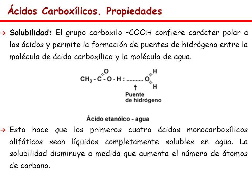 Ácidos Carboxílicos. Propiedades Solubilidad: El grupo carboxilo –COOH confiere carácter polar a los ácidos y permite la formación de puentes de hidró