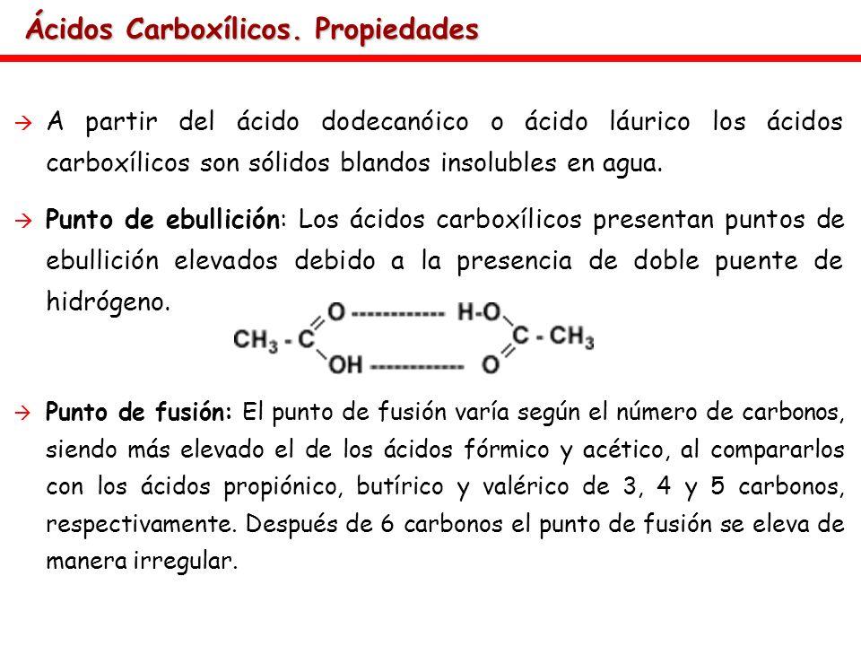 Ácidos Carboxílicos. Propiedades A partir del ácido dodecanóico o ácido láurico los ácidos carboxílicos son sólidos blandos insolubles en agua. Punto
