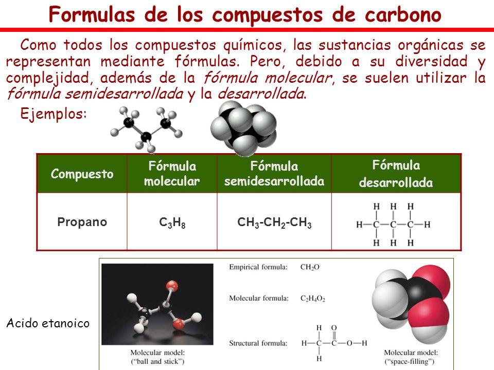 Formulas de los compuestos de carbono Como todos los compuestos químicos, las sustancias orgánicas se representan mediante fórmulas. Pero, debido a su