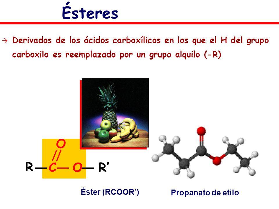Derivados de los ácidos carboxílicos en los que el H del grupo carboxilo es reemplazado por un grupo alquilo (-R) Éster (RCOOR) Propanato de etilo Ést