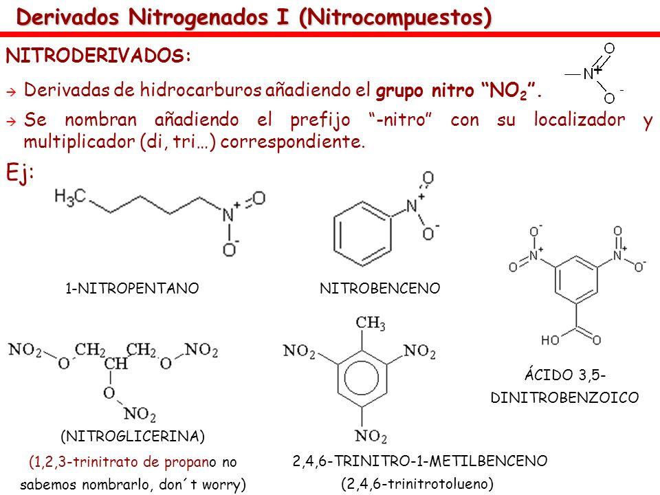 Derivados Nitrogenados I (Nitrocompuestos) NITRODERIVADOS: Derivadas de hidrocarburos añadiendo el grupo nitro NO 2. Se nombran añadiendo el prefijo -