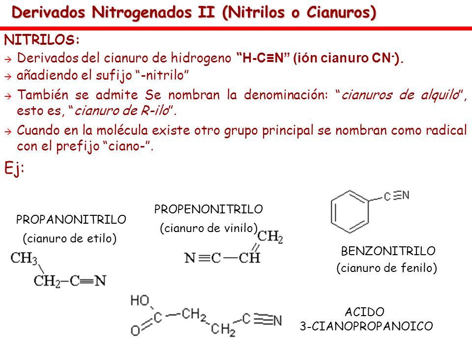 Derivados Nitrogenados II (Nitrilos o Cianuros) NITRILOS: Derivados del cianuro de hidrogeno H-CN (ión cianuro CN - ). añadiendo el sufijo -nitrilo Ta