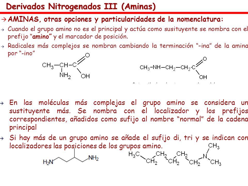 Derivados Nitrogenados III (Aminas) AMINAS, otras opciones y particularidades de la nomenclatura: Cuando el grupo amino no es el principal y actúa com