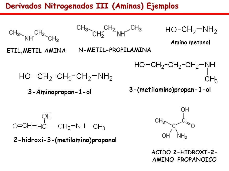 Derivados Nitrogenados III (Aminas) Ejemplos ETIL,METIL AMINA ACIDO 2-HIDROXI-2- AMINO-PROPANOICO Amino metanol 3-Aminopropan-1-ol 3-(metilamino)propa