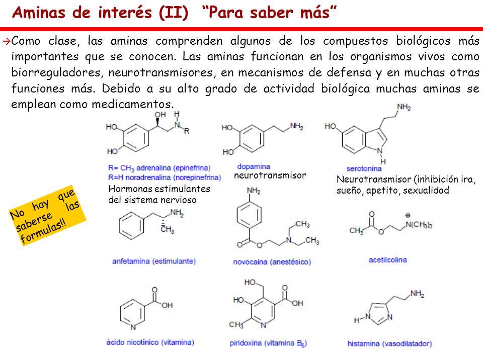 Aminas de interés (II) Para saber más Como clase, las aminas comprenden algunos de los compuestos biológicos más importantes que se conocen. Las amina