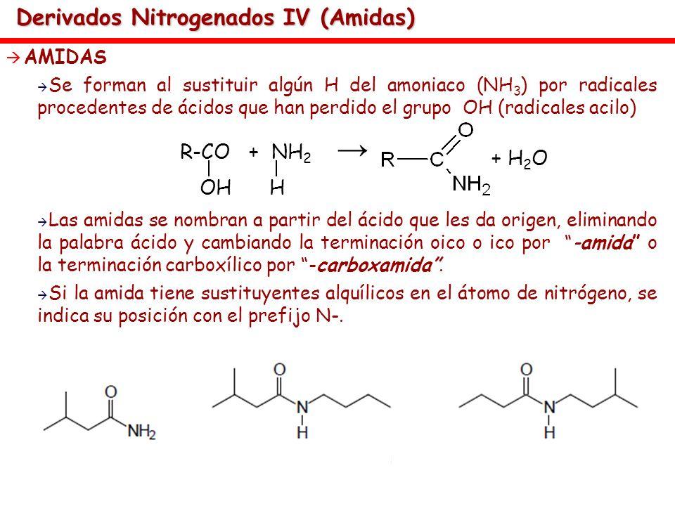 Derivados Nitrogenados IV (Amidas) AMIDAS Se forman al sustituir algún H del amoniaco (NH 3 ) por radicales procedentes de ácidos que han perdido el g
