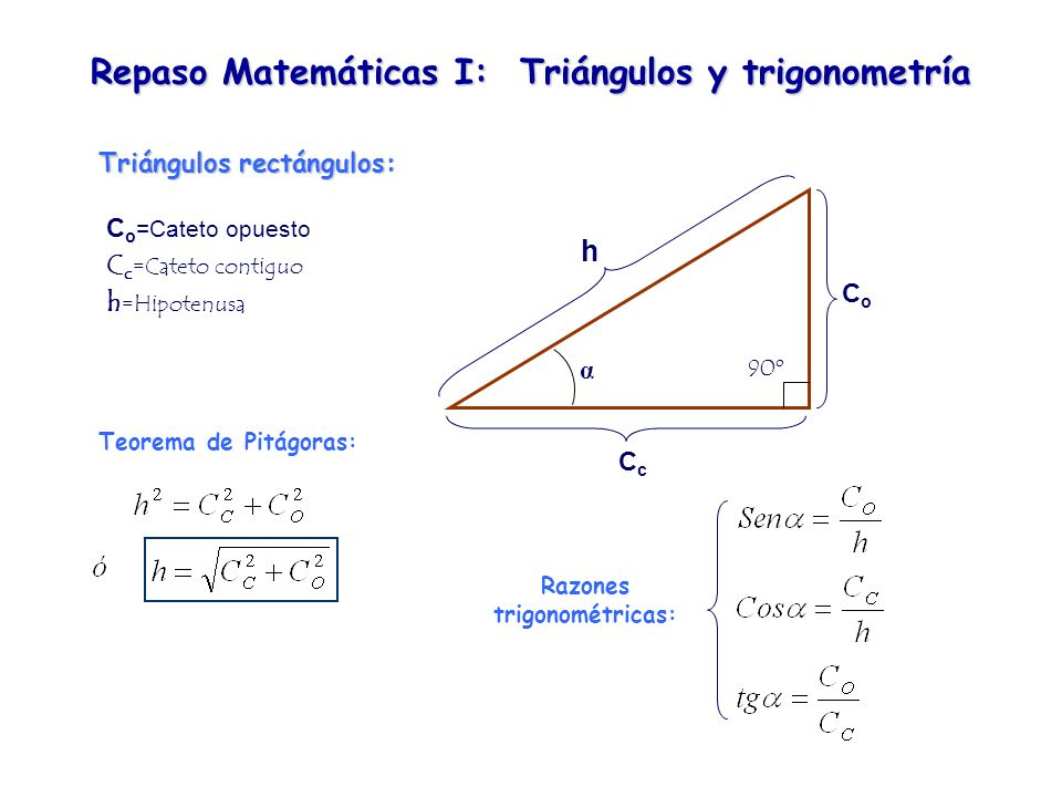 Repaso Matemáticas I: Triángulos y trigonometría Triángulos rectángulos: α 90º CcCc CoCo h C o =Cateto opuesto C c =Cateto contiguo h =Hipotenusa Teor