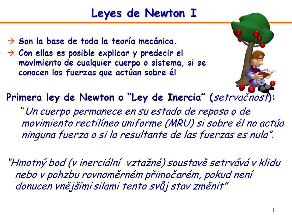 1 Primera ley de Newton o Ley de Inercia (setrvačnost): Un cuerpo permanece en su estado de reposo o de movimiento rectilíneo uniforme (MRU) si sobre