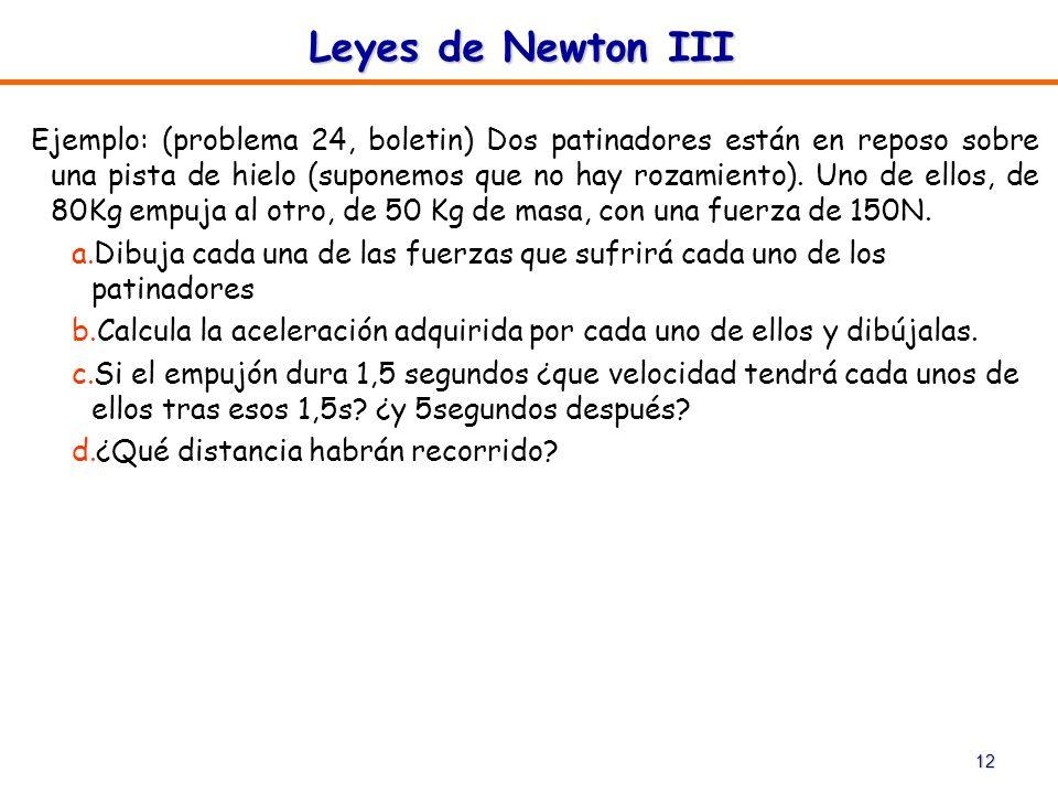 12 Leyes de Newton III Ejemplo: (problema 24, boletin) Dos patinadores están en reposo sobre una pista de hielo (suponemos que no hay rozamiento). Uno