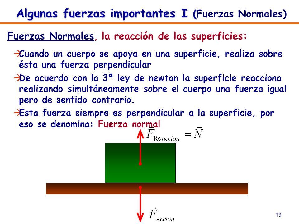 13 Algunas fuerzas importantes I ( Algunas fuerzas importantes I (Fuerzas Normales) Fuerzas Normales, la reacción de las superficies: Cuando un cuerpo