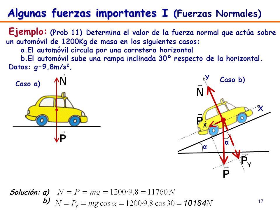 17 Ejemplo: (Prob 11) Determina el valor de la fuerza normal que actúa sobre un automóvil de 1200Kg de masa en los siguientes casos: a.El automóvil ci