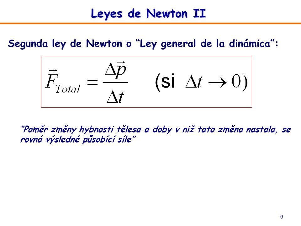 6 Segunda ley de Newton o Ley general de la dinámica: Poměr změny hybnosti tělesa a doby v niž tato změna nastala, se rovná výsledné působící síle Ley