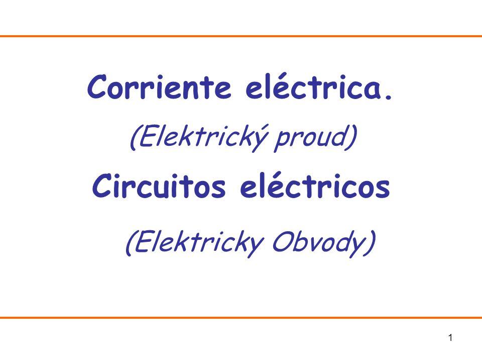 2 Corriente Eléctrica I Desde el punto de vista eléctrico existen dos tipos de materiales: (los estudiamos en más detalles en el próximo tema) Conductores (vodivé látky, vodiče): Las cargas eléctricas (normalmente electrones) pueden moverse con libertad por ellos.