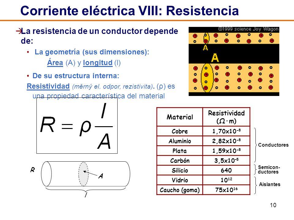 10 La resistencia de un conductor depende de: La geometría (sus dimensiones): Área (A) y longitud (l) De su estructura interna: Resistividad (měrný el.
