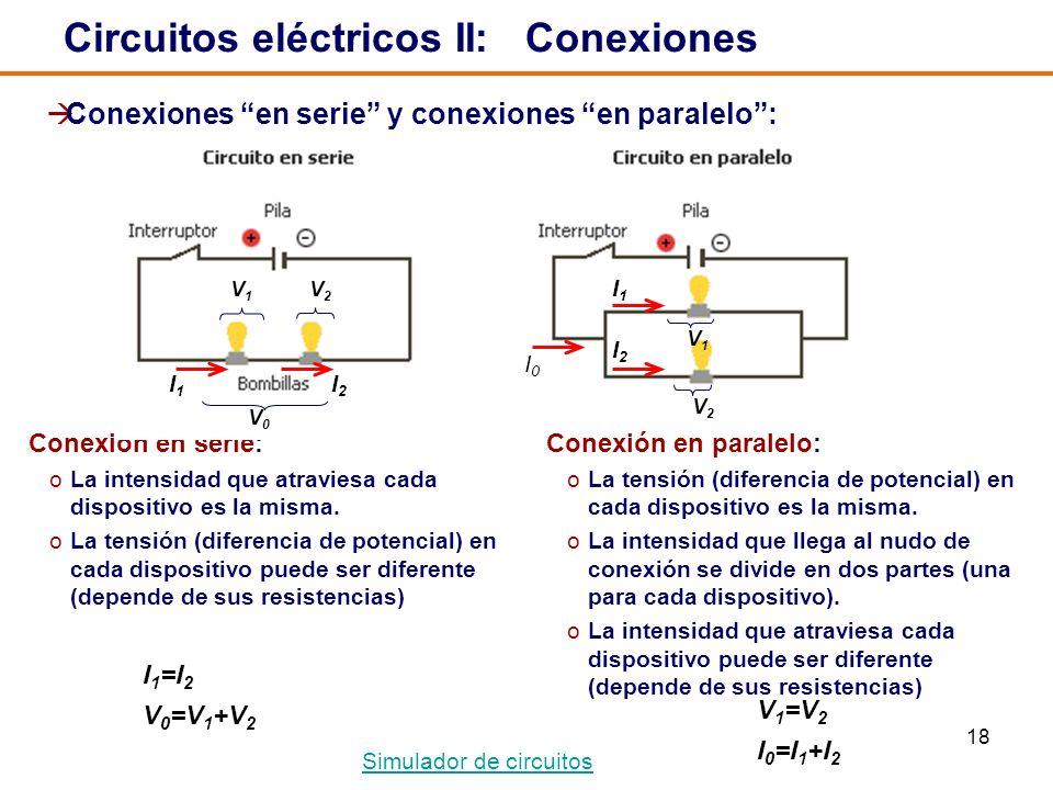 18 I2I2 I1I1 I0I0 V1V1 V 2 Circuitos eléctricos II: Conexiones Conexión en paralelo: oLa tensión (diferencia de potencial) en cada dispositivo es la misma.