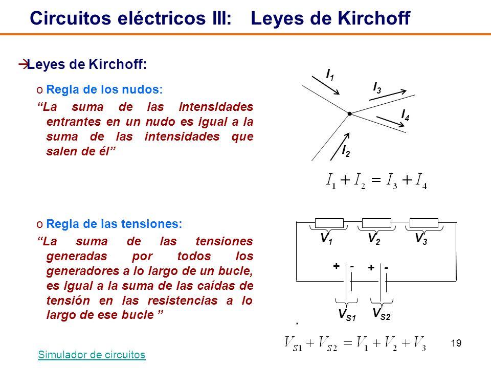 19 Circuitos eléctricos III: Leyes de Kirchoff Leyes de Kirchoff: oRegla de los nudos: La suma de las intensidades entrantes en un nudo es igual a la