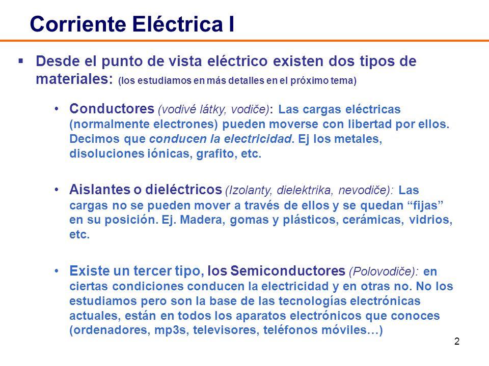 2 Corriente Eléctrica I Desde el punto de vista eléctrico existen dos tipos de materiales: (los estudiamos en más detalles en el próximo tema) Conduct