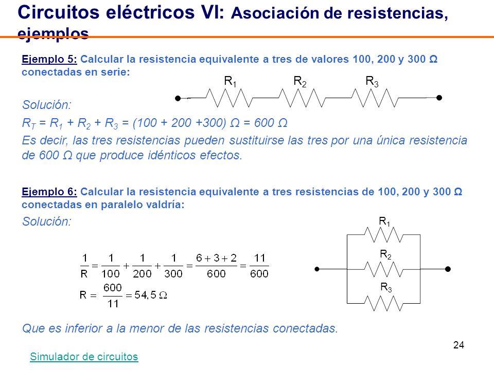 24 Circuitos eléctricos VI: Asociación de resistencias, ejemplos Ejemplo 5: Calcular la resistencia equivalente a tres de valores 100, 200 y 300 Ω con