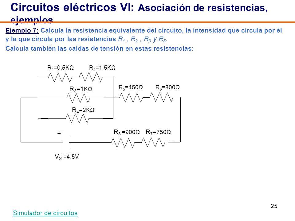25 Ejemplo 7: Calcula la resistencia equivalente del circuito, la intensidad que circula por él y la que circula por las resistencias R 1, R 2, R 3 y R 5.