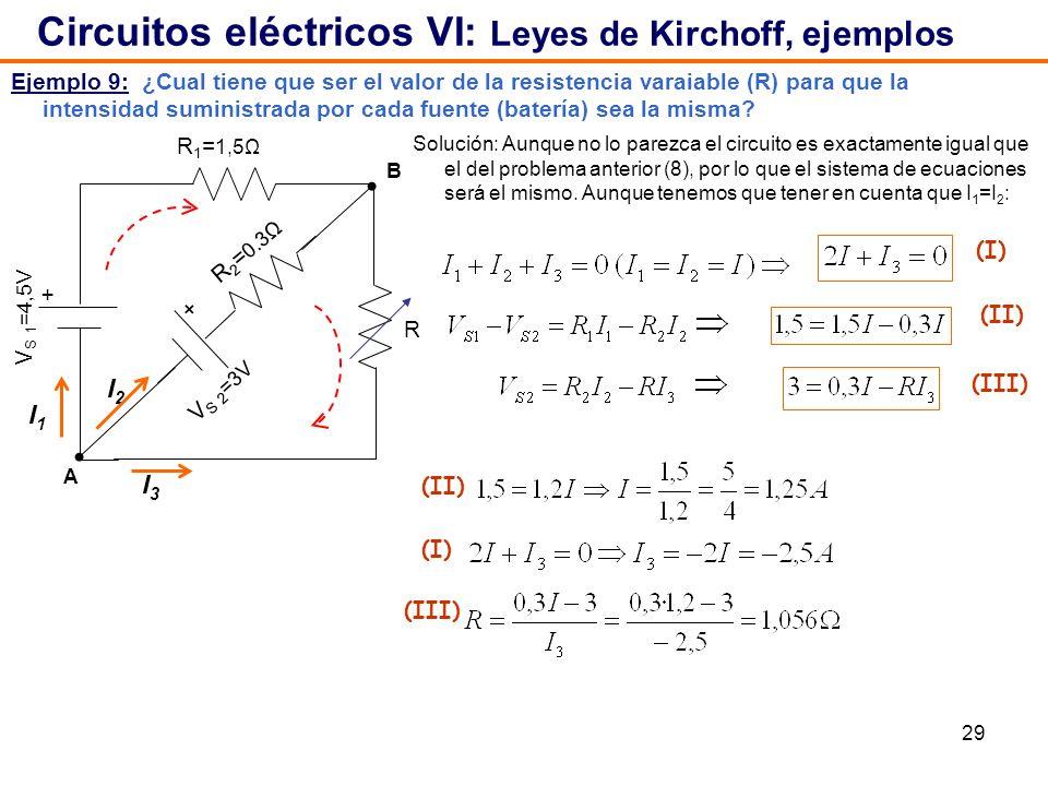 29 Ejemplo 9: ¿Cual tiene que ser el valor de la resistencia varaiable (R) para que la intensidad suministrada por cada fuente (batería) sea la misma?