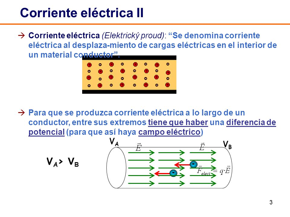3 Corriente eléctrica (Elektrický proud): Se denomina corriente eléctrica al desplaza-miento de cargas eléctricas en el interior de un material conductor.