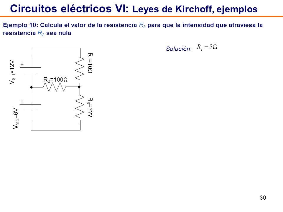 30 Ejemplo 10: Calcula el valor de la resistencia R 3 para que la intensidad que atraviesa la resistencia R 2 sea nula Circuitos eléctricos VI: Leyes de Kirchoff, ejemplos Solución: V S 1 =12V + + V S 2 =6V R 1 = 10Ω R 2 = 100Ω R 3 = ???