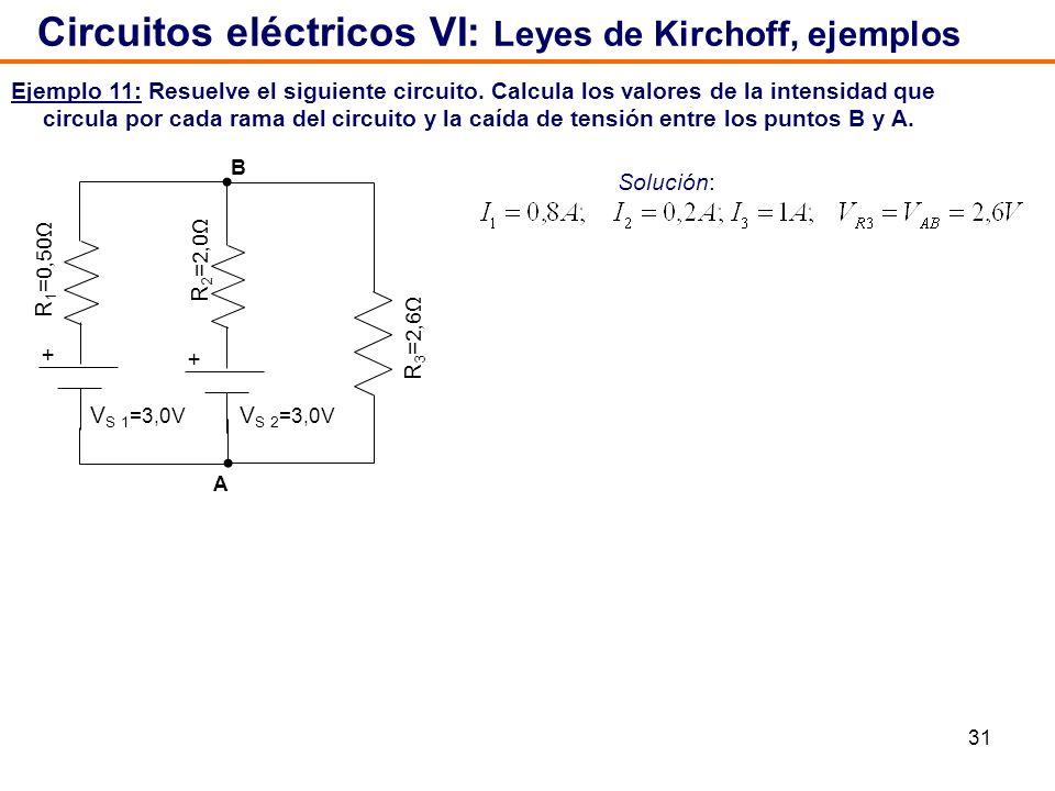 31 Ejemplo 11: Resuelve el siguiente circuito. Calcula los valores de la intensidad que circula por cada rama del circuito y la caída de tensión entre